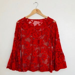 ❤️NWOT INC International Concepts Red Lace Shirt❤️